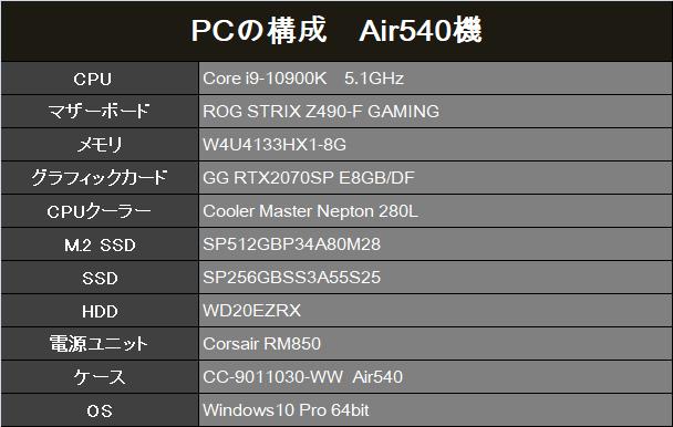 PC構成 Air 540