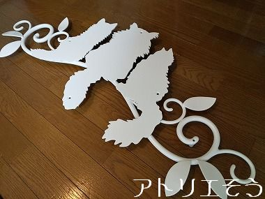 チンチラ猫3匹妻飾り 。錆に強いアルミ製妻飾り