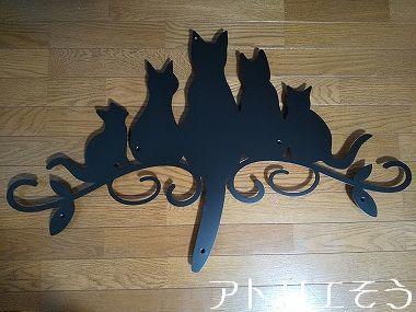 猫5匹妻飾り 。錆に強いステンレス製妻飾り。