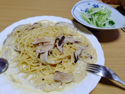 200413たっぷり椎茸のクリームパスタ
