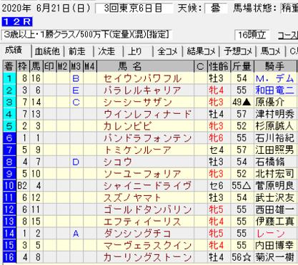 200621東京12R結果