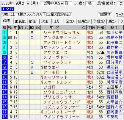 200921中京12R結果