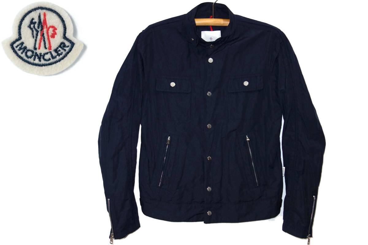 お買取商品モンクレールMONCLER美品ナイロンライダースジャケット紺3日本国内正規販売代理スープリームス