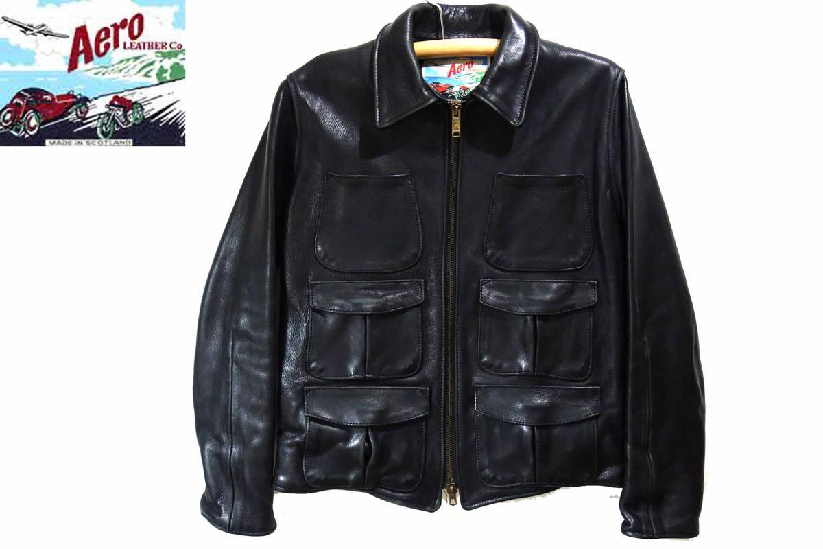 お買取商品エアロレザーAeroLeatherシングルレザーハーフコートジャケットスコットランド製黒