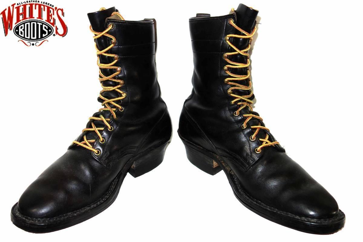 お買取り商品ホワイツブーツWHITE'S BOOTS60-70年代スモークジャンパーブーツ黒約28㎝刻印無し