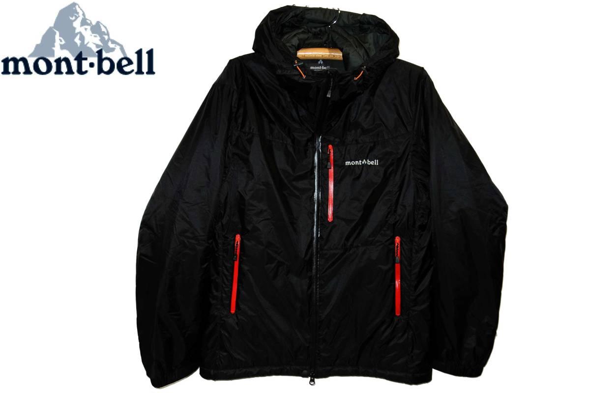 お買取商品モンベルmont-bell美品高機能冬季クライミングジャケットフラットアイアンパーカ黒赤L防滴保温防風水透湿超軽量シェル品番1101509
