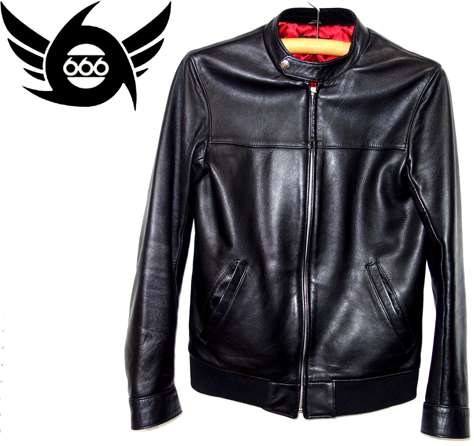 お買取商品666トリプルシックスシングルレザーライダースジャケット黒