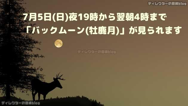 7月5日(日)夜19時から翌朝4時まで「バックムーン(牡鹿月)」が見られます
