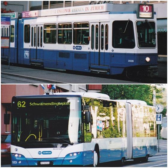 040704チューリッヒ・エルリコンの路面電車とバス