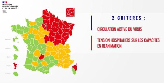 フランス、コロナ地図
