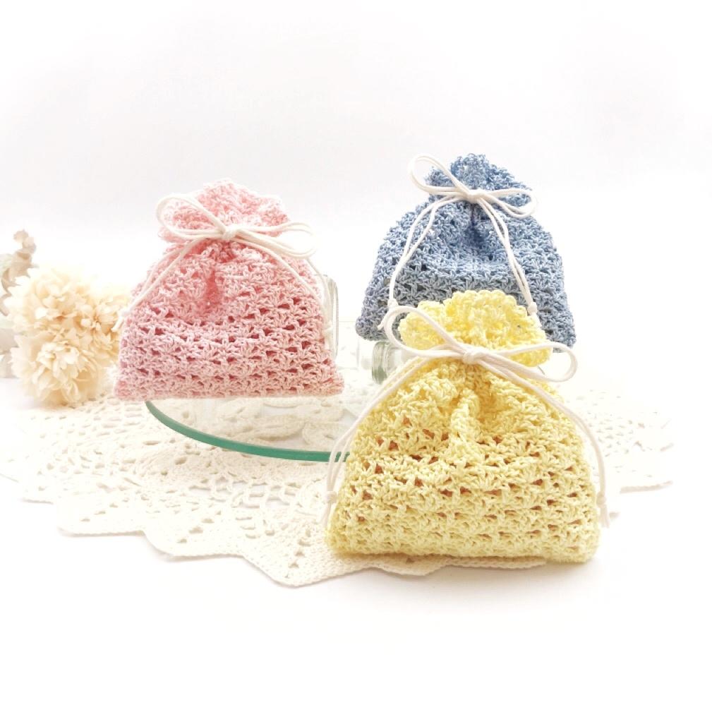 手編み雑貨、HanahanD、レース、巾着、手編み、ラッピング