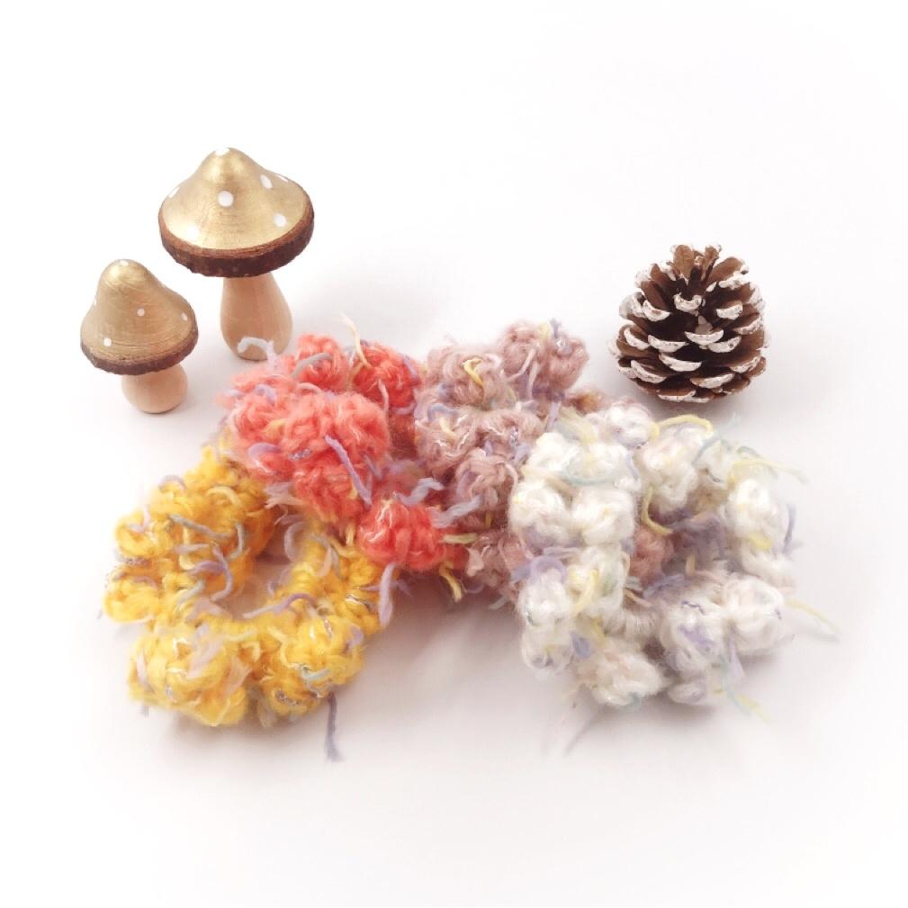HanahanD 手編み雑貨 ビタミンカラー 冬 ヘアアクセサリー シュシュ