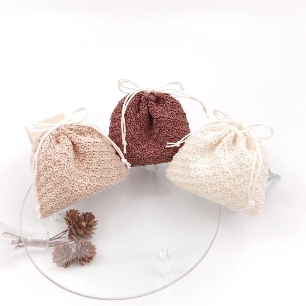 手編み雑貨、HanahanD、レース、巾着、敬老の日、プチギフト、丁寧な生活、バッグ整理