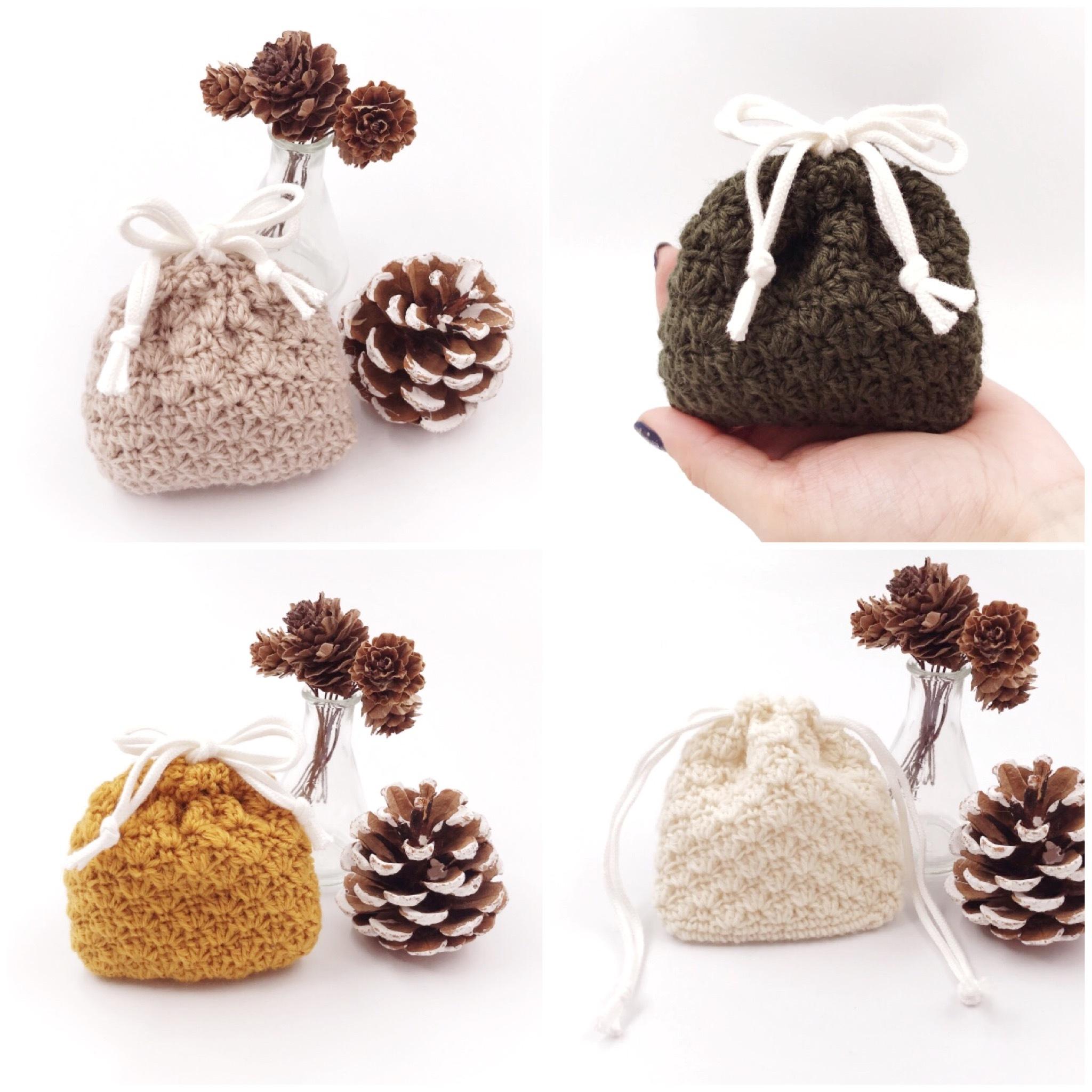HanahanD 手編み雑貨 巾着 手編み巾着 冬小物