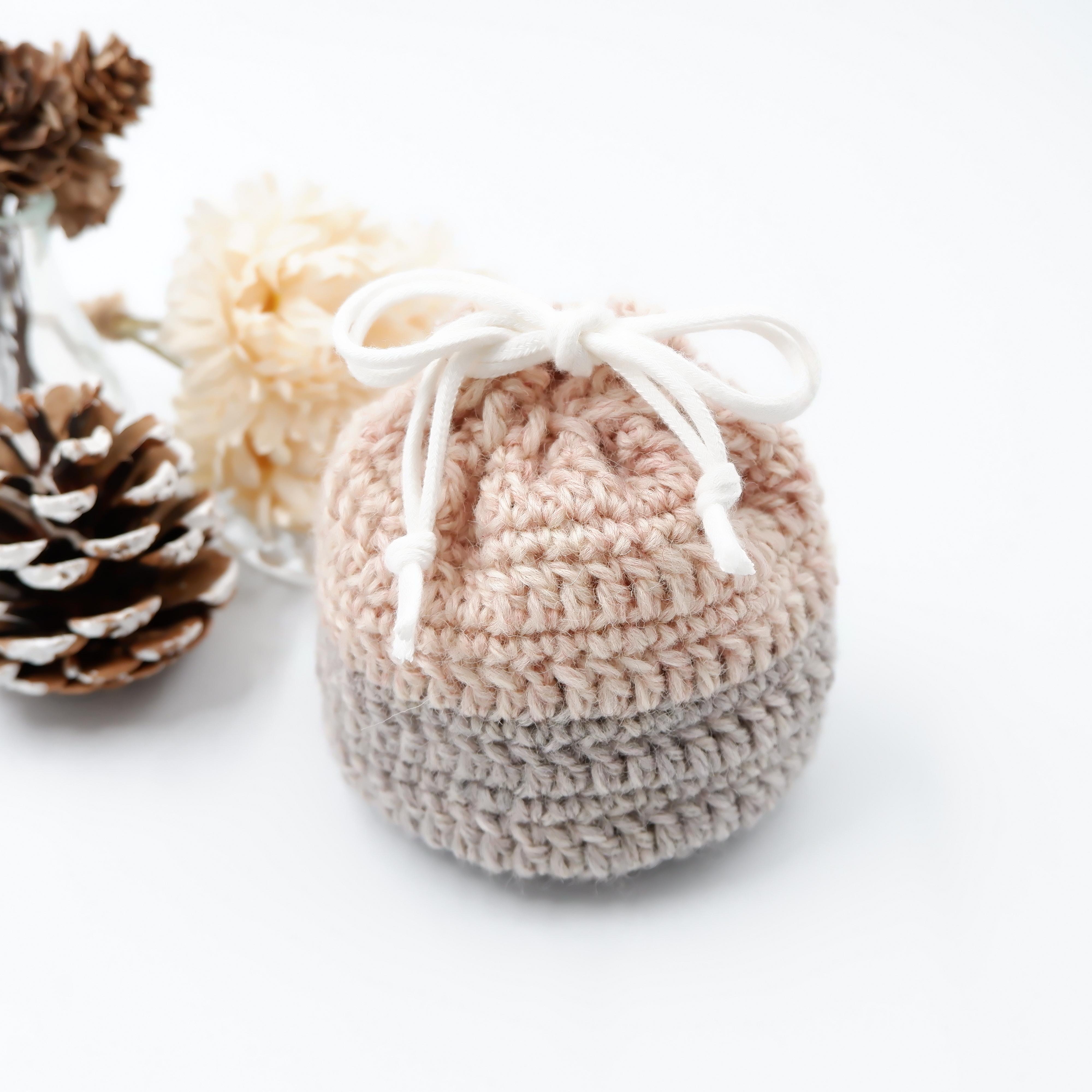 HanahanD 冬 巾着 手編み ツートン