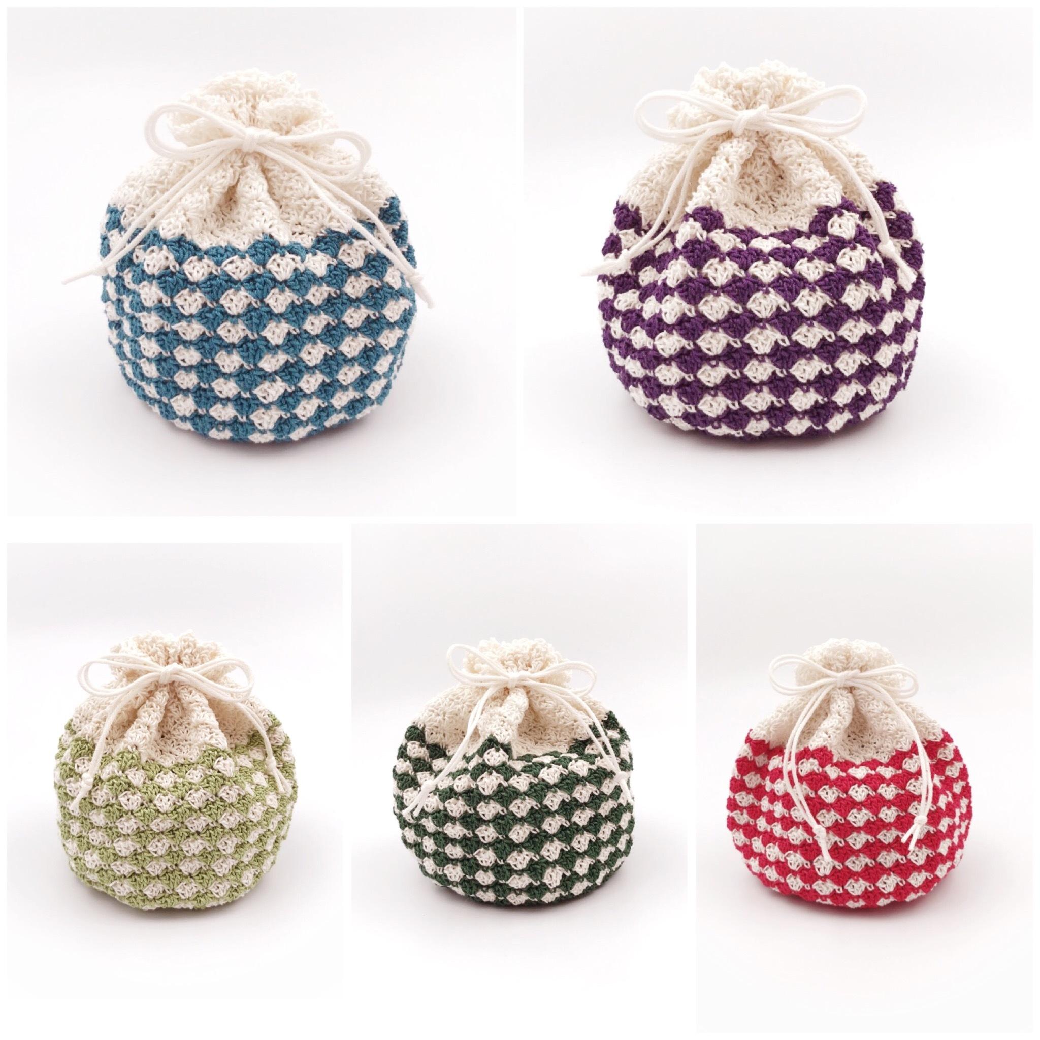 手編み雑貨、HanahanD、レトロ、可愛い、巾着、敬老の日、プチギフト