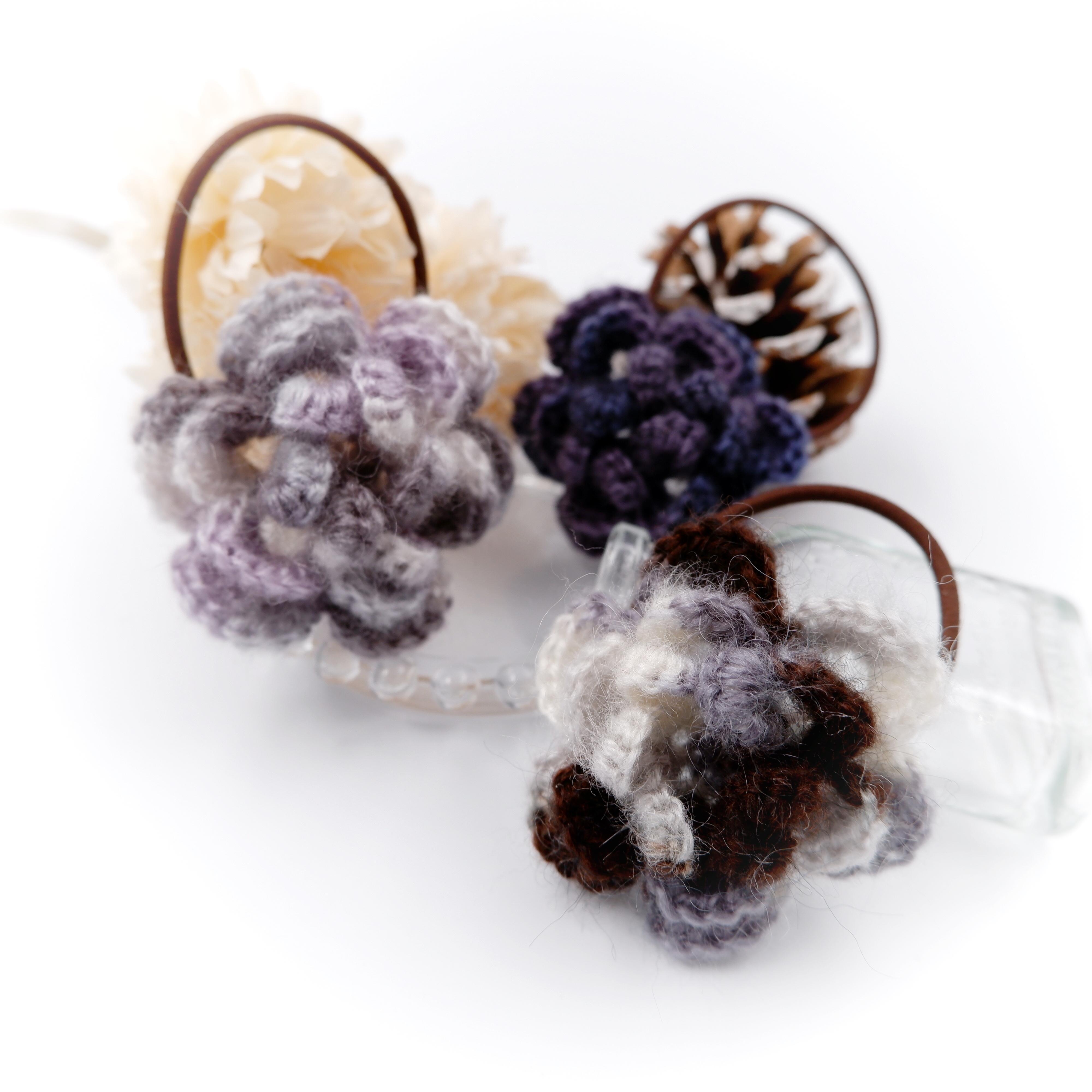 HanahanD 手編み雑貨 手編みヘアゴム 花 ウール 大人カラー