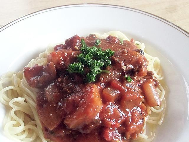 次の日はスパゲティ