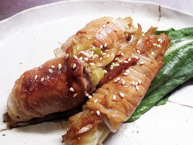 野菜三種の肉巻き焼き