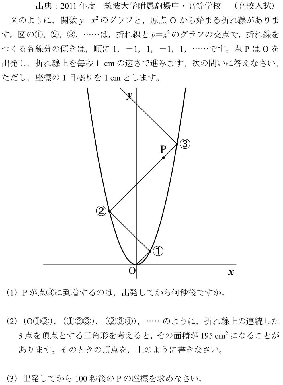 2011 筑駒 高校入試 関数 規則性