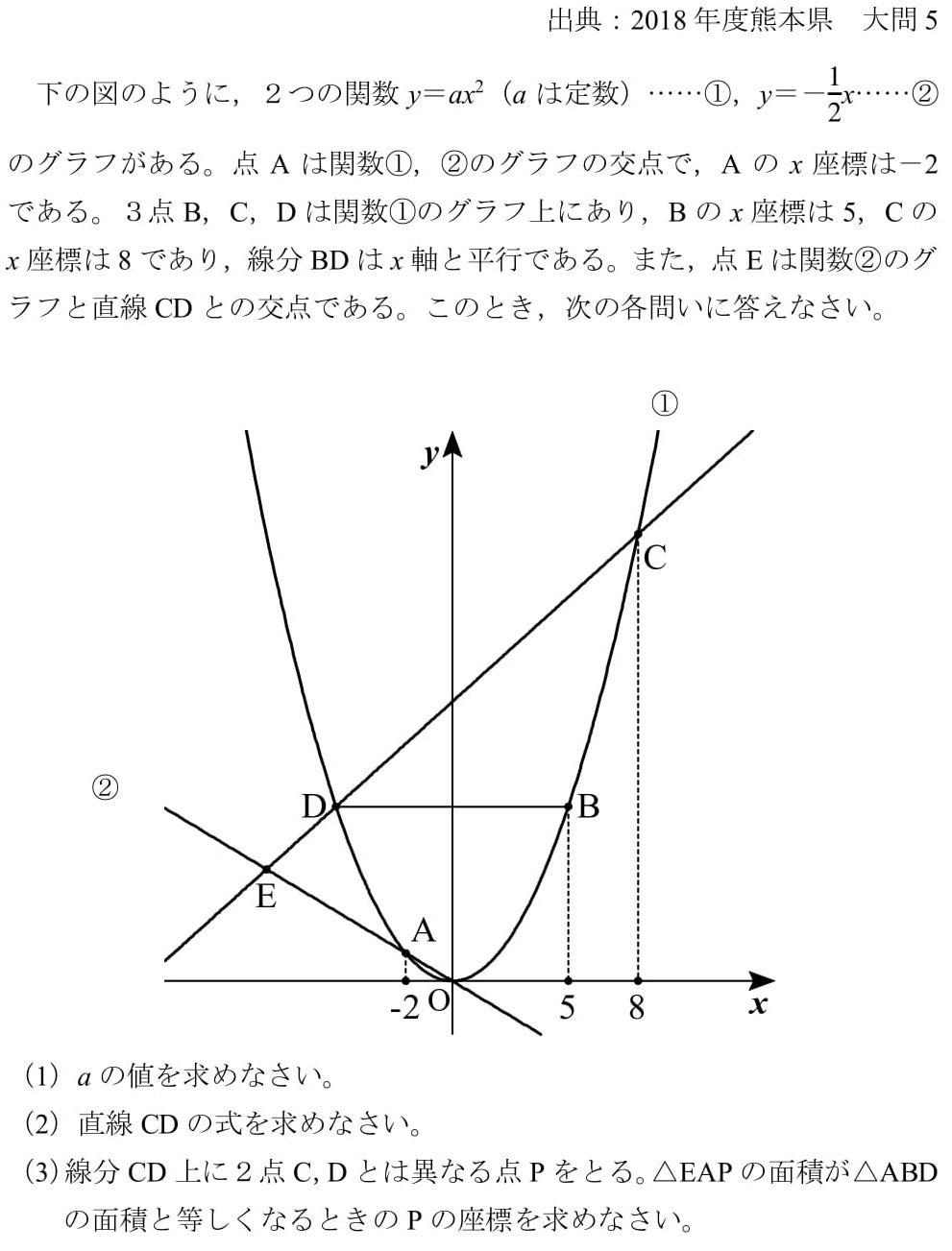 2018 熊本県 高校入試 大問5 関数