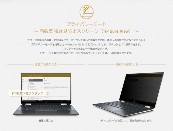 スクリーンショット_HP Spectre x360 13覗き見防止スクリーン搭載モデル