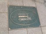 JR可部駅 西口モニュメント 日本最初の乗合バス発祥の地 銘板