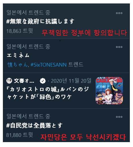 [韓国の反応]日本のTwitterで政府への批判運動がトレンドに