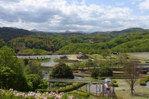 中井中央公園から望む箱根山系