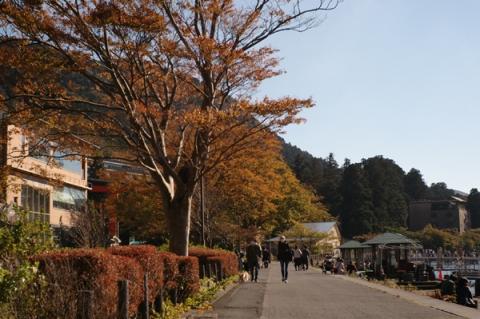 紅葉の始まっている芦ノ湖畔