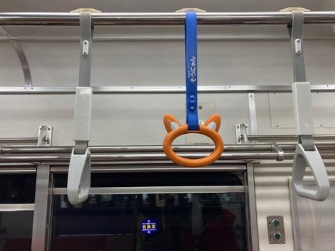 電車内で見た猫のつり革