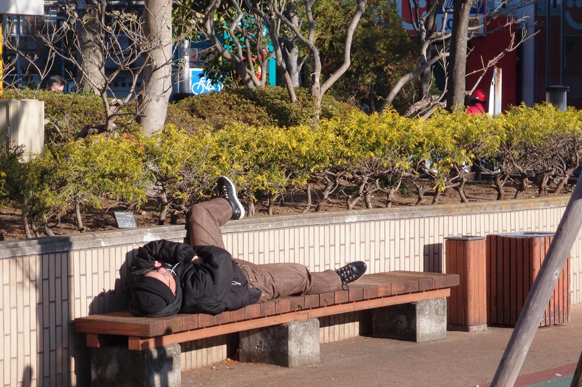 小春日の中ベンチで昼寝する人