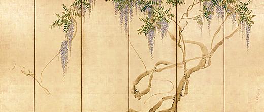 藤花図_右隻藤花図屏風」 (右隻) 円山応挙 安永5年 1776年 44歳