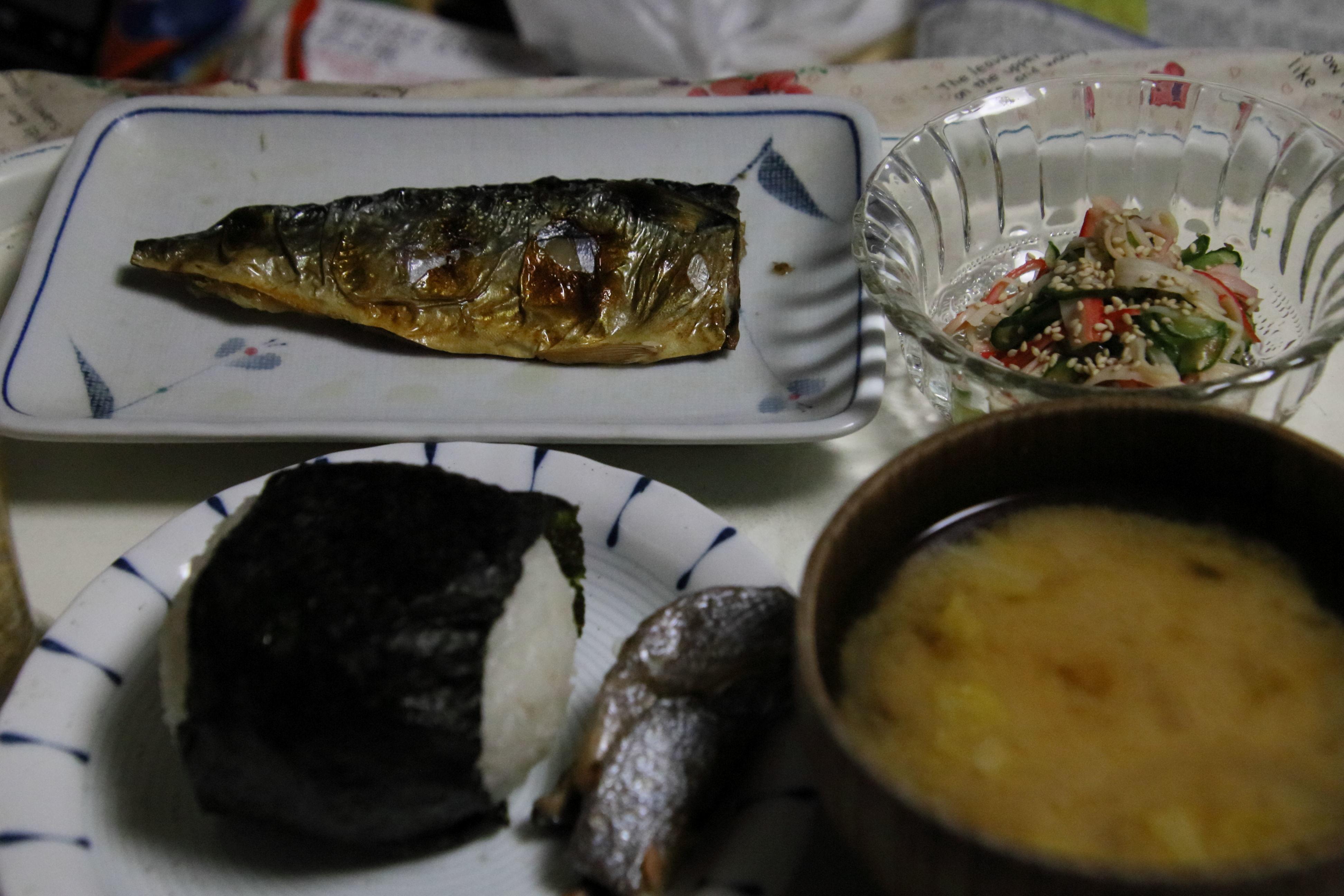 夕食 おにぎり定食.JPG