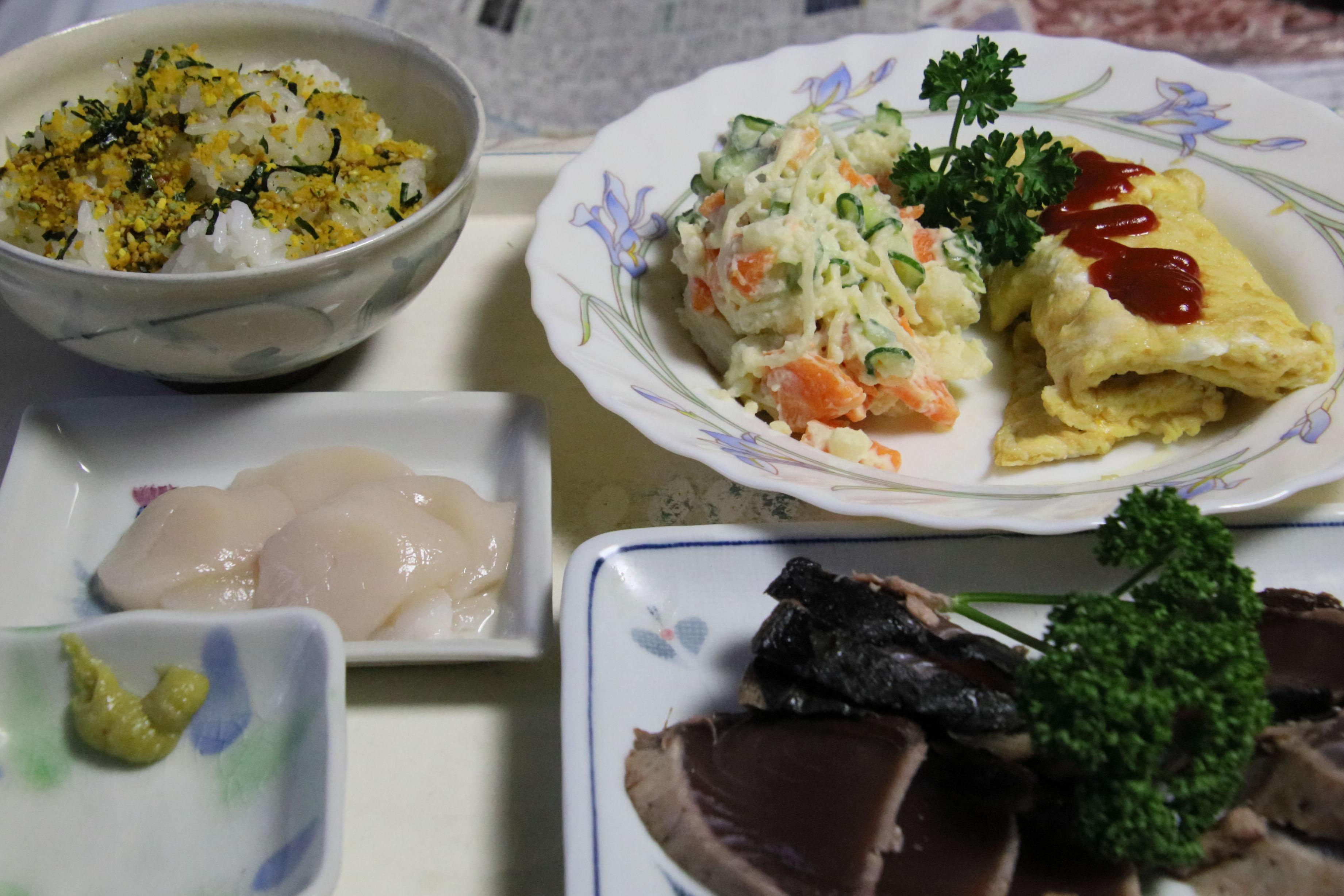 夕食  カツのたたき定食.JPG