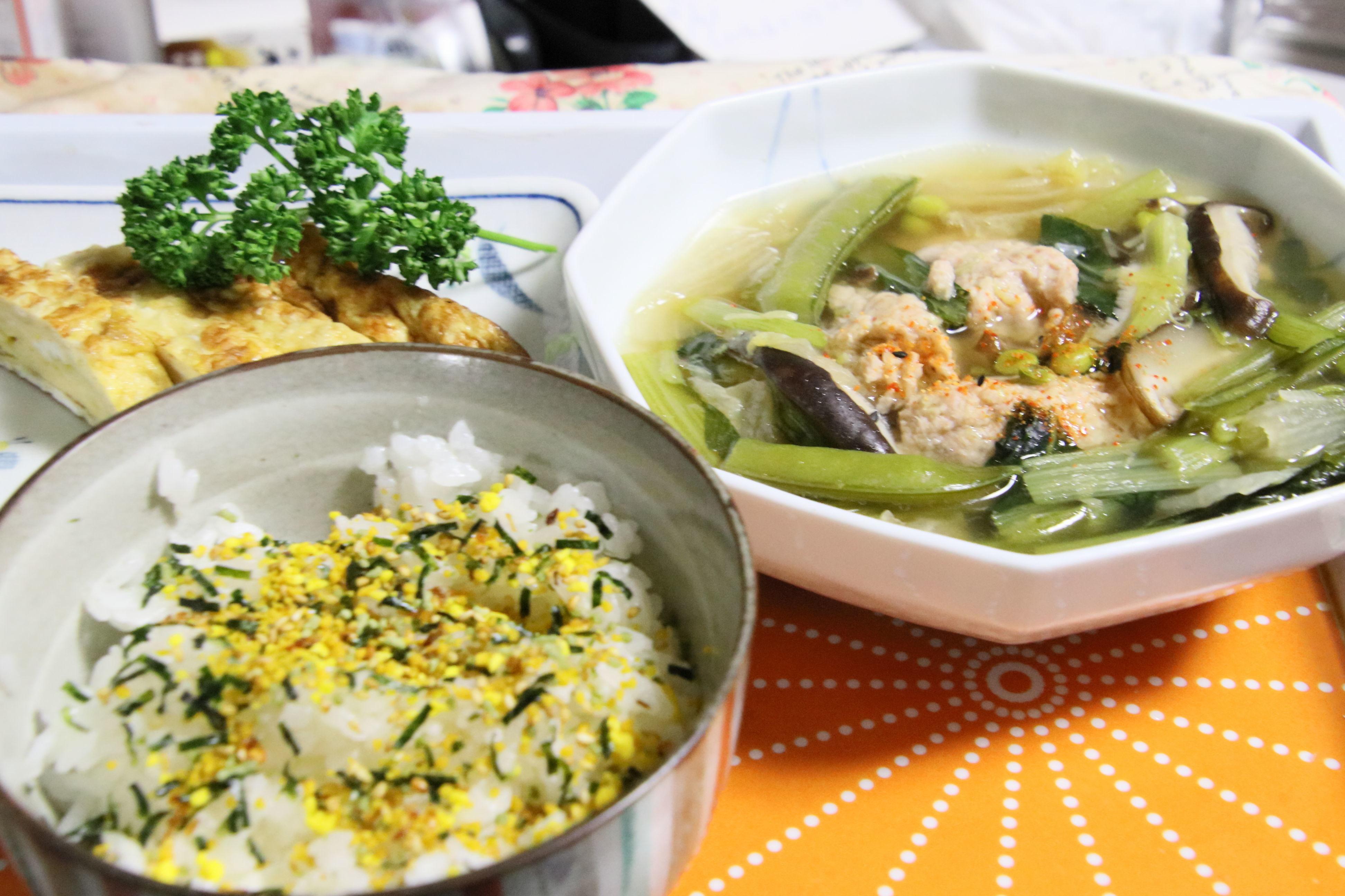 夕食  鶏団子定食.JPG
