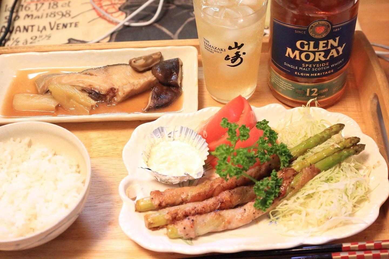 111夕食 アスパラ肉巻きと煮魚定食.jpg