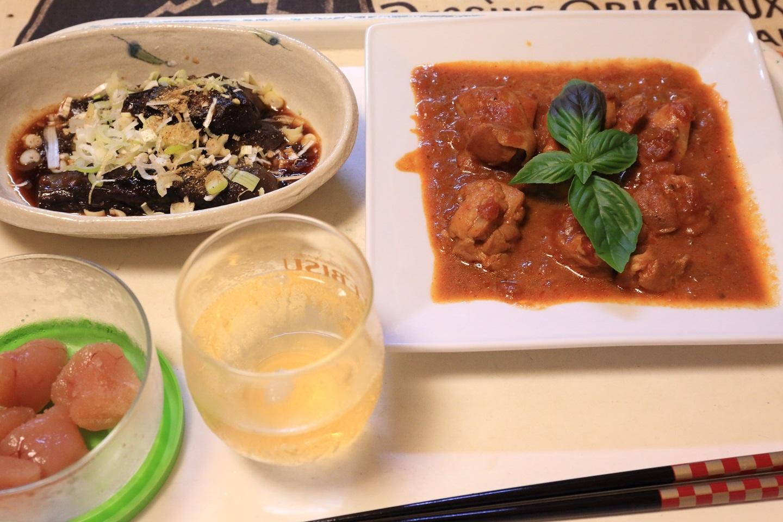 111夕食 鶏肉のトマトソース煮とナスの煮びたし.jpg