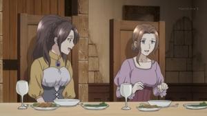 豪華な食事に喜ぶアマーリエ