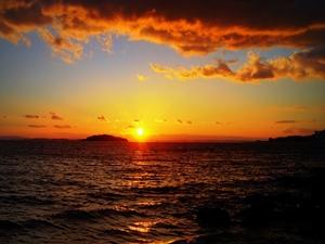 年の瀬の夕日