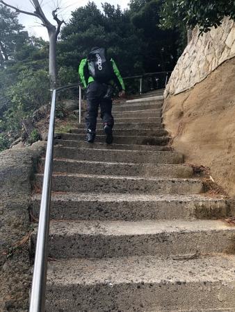 ぴーきち&ダイナ 京都丹後半島イノシシ激突ツーリング 城嶋公園 階段