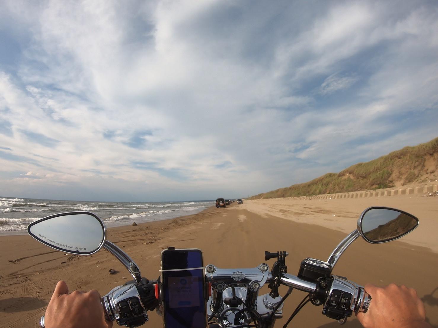 ぴーきちハーレーブログ 福井金沢ツーリング 千里浜なぎさドライブウェイ バイクで砂浜を走れる