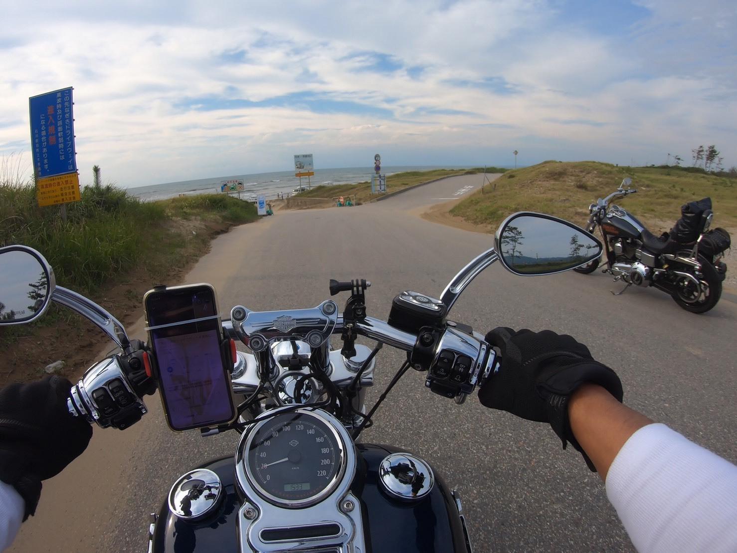 ぴーきちハーレーブログ 福井金沢ツーリング 千里浜なぎさドライブウェイ 到着 海岸線