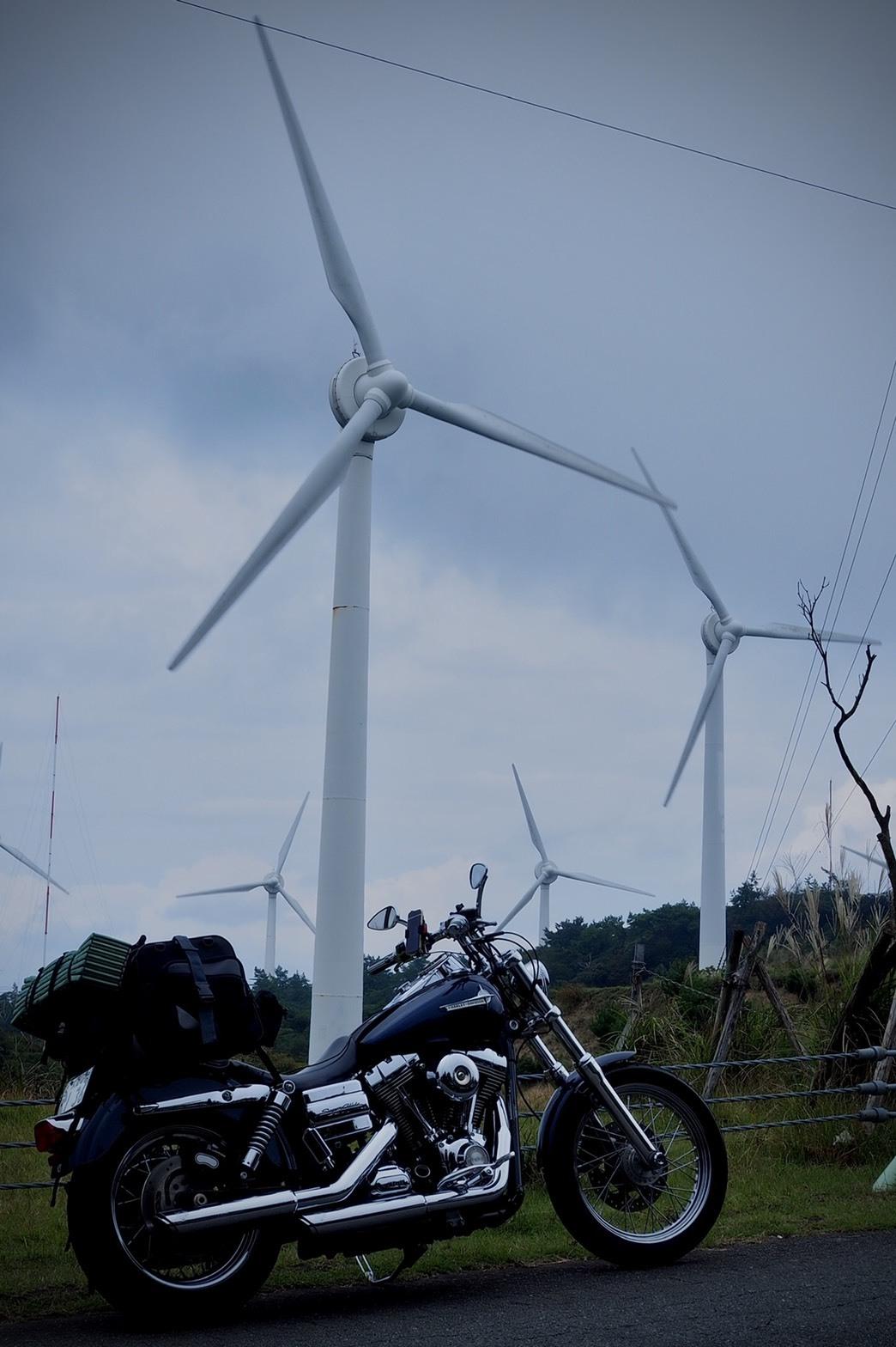 ぴーきちハーレーブログ 青山高原 風力発電 インスタ映え スポット ガスってる