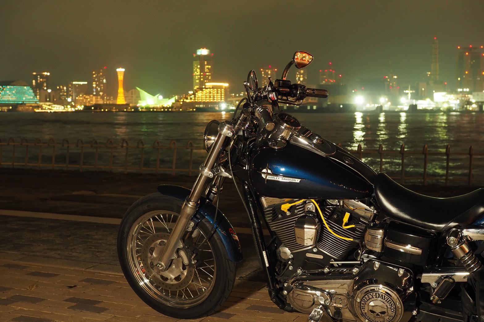 ぴーきちハーレーブログ 神戸ナイトツーリング 夜景撮影 インスタ映え ポートアイランド北公園 海辺