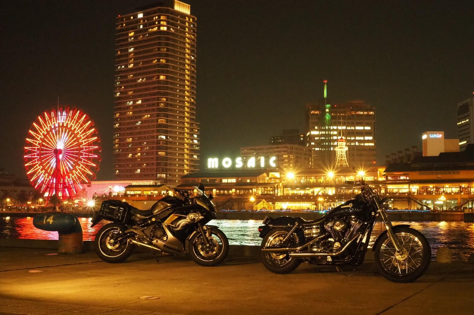 ぴーきちハーレーブログ 神戸ナイトツーリング 夜景撮影 インスタ映え ハーバーランド カワサキニンジャ