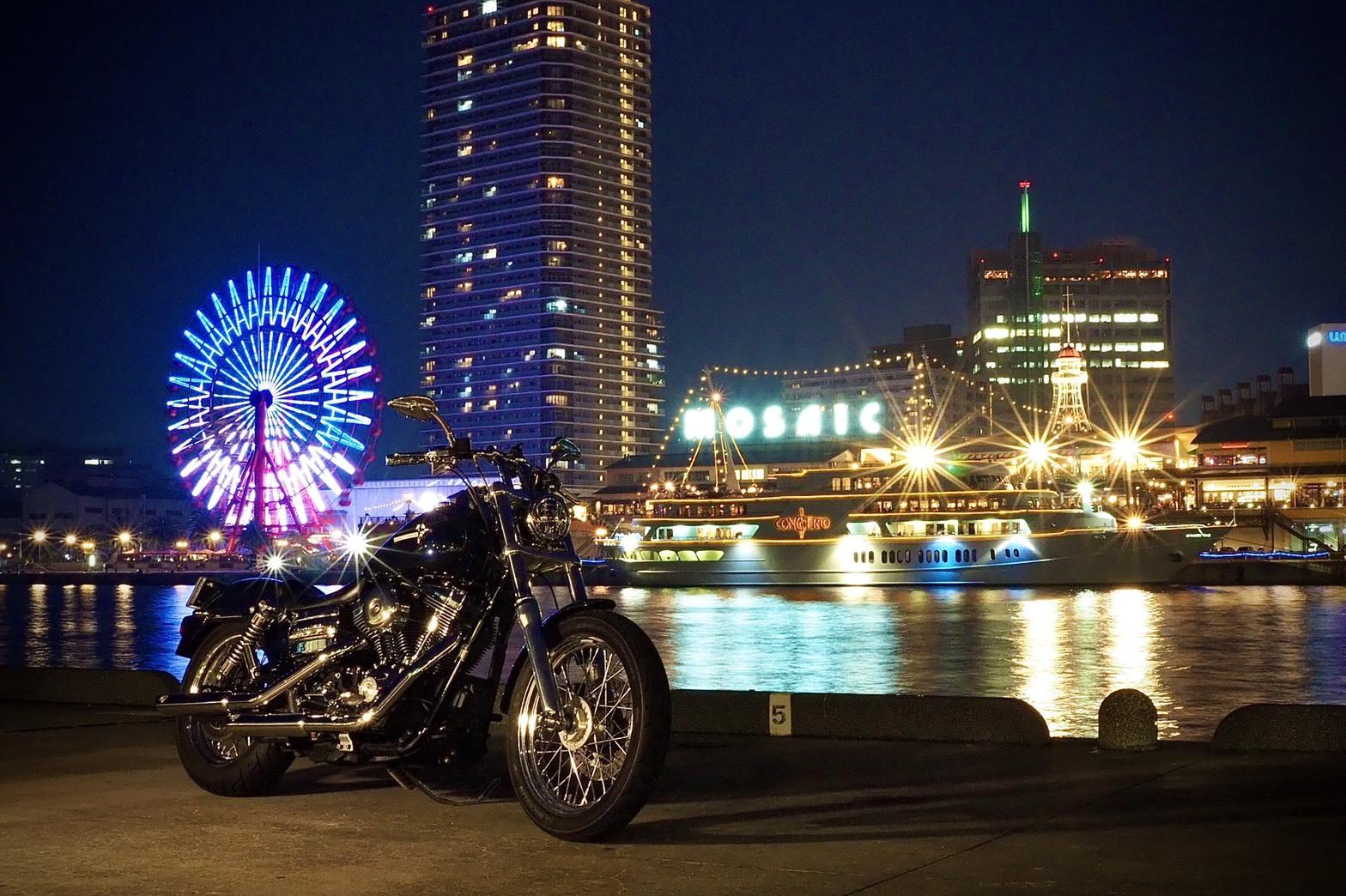 ぴーきちハーレーブログ 神戸ナイトツーリング 夜景撮影 インスタ映え ハーバーランド 観覧車 モザイク