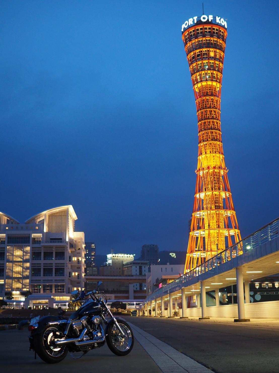 ぴーきちハーレーブログ 神戸ナイトツーリング 夜景撮影 インスタ映え ハーバーランド