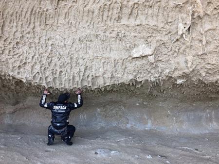 ぴーきち&ダイナ 紀伊半島ツーリング 三重県 熊野市 鬼ヶ城 岩を持ち上げる