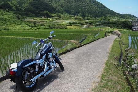 ぴーきち&ダイナ ハーレーブログ 京都丹後半島ツーリンング 袖志の棚田 道が狭い